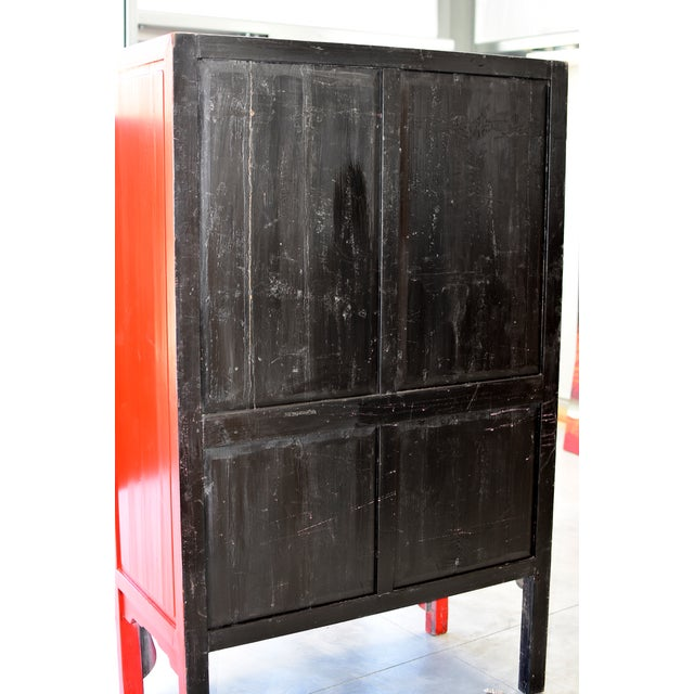 Brass Chinese Red Wedding Cabinet For Sale - Image 7 of 13