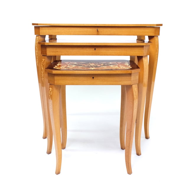 Italian Italian Marquetry Inlay Music Box Nesting Tables For Sale - Image 3 of 8