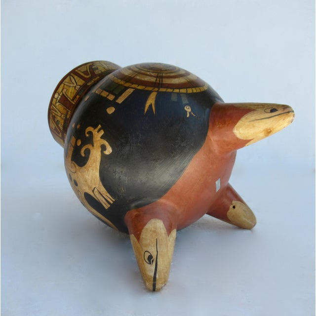 C.1935-50s Vintage Mexican Hand-Made Terra-Cotta Bulbous Calabash Olla, 3-Legged Vessel For Sale - Image 10 of 13