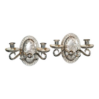 Caldwell Silver Plate Sconces - a Pair For Sale