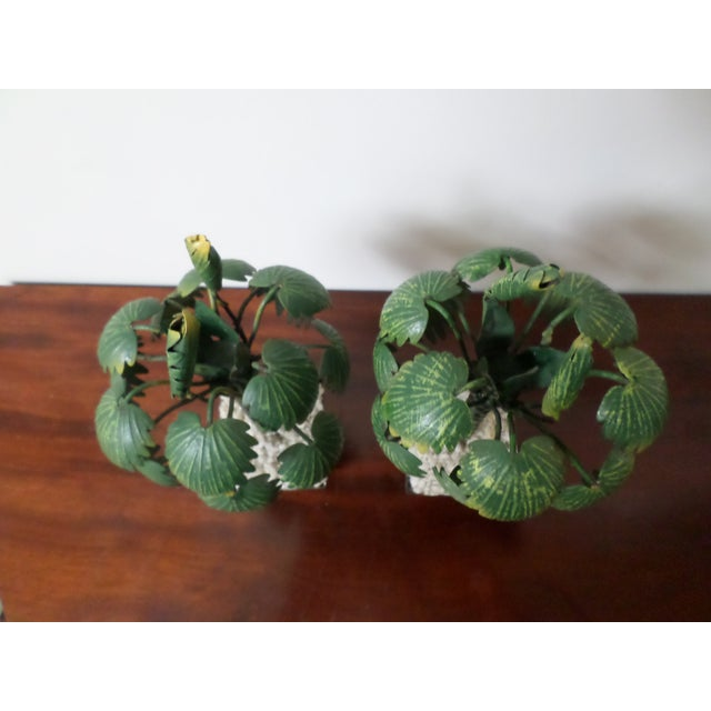 Pair of Hand-Painted Tole Palm Trees in Neoclassical Pots For Sale - Image 10 of 12