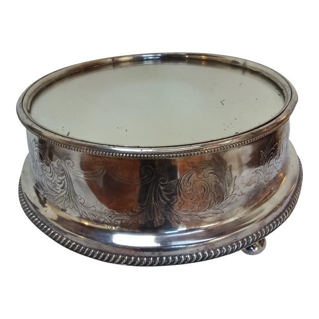 19th C English Silver Plate Mirror Topped Plateau - Image 1 of 5