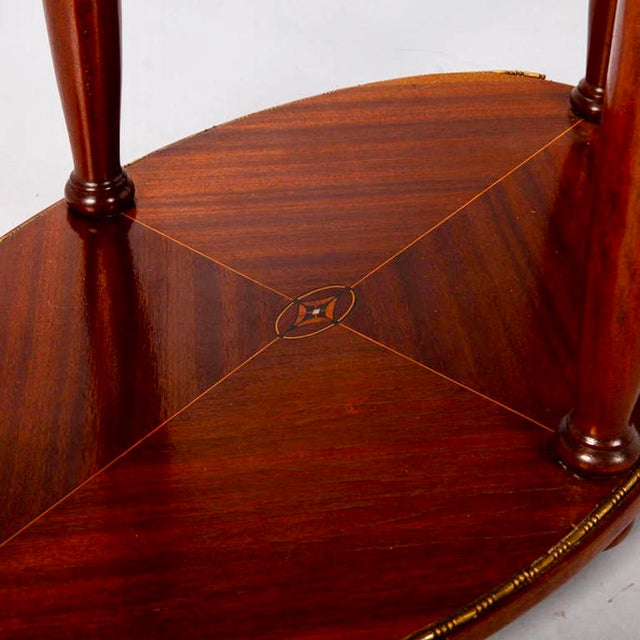 French Directoire Oval Center Table with Rouge Marble Top For Sale In Detroit - Image 6 of 7