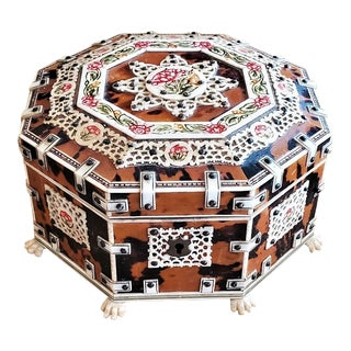 19c Anglo Indian Octagonal Shell and Bone Jewelry Box For Sale