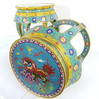 Chinese Cloisonne Bronze Stools - a Pair Preview