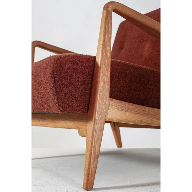 Textile Jens Risom Walnut Lounge Chair with Red-Brown Wool Cushions, USA, 1950s For Sale - Image 7 of 10