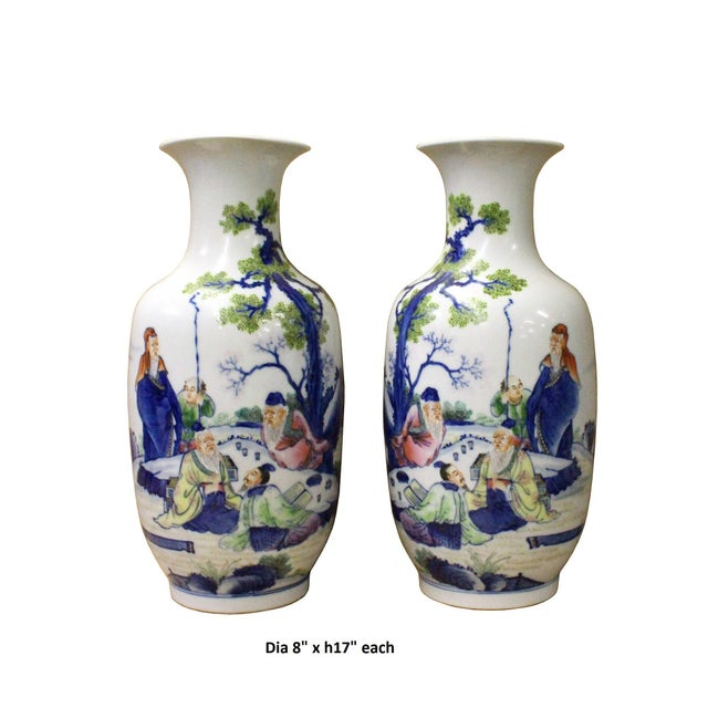 Ceramic Pair Chinese Oriental Ceramic Porcelain White Color People Graphic Vases For Sale - Image 7 of 8