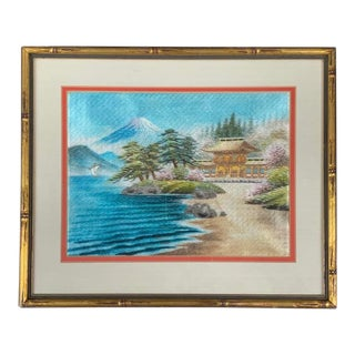 Vintage Japanese Landscape Silk Embroidery Textile Art For Sale
