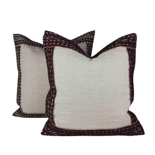Linen Pillows with Antique Lace - A Pair For Sale