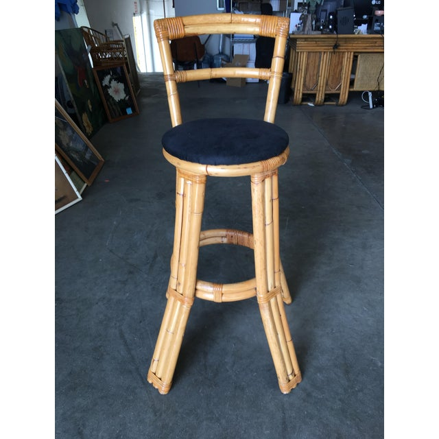 Mid-Century Modern Restored Three Strand Rattan Bar Stool W/ Pole Rattan Back, Pair For Sale - Image 3 of 8