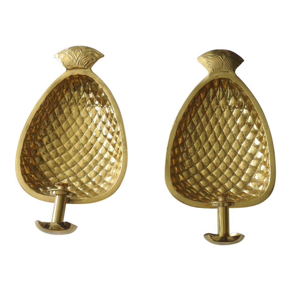 Oversized Brass Pineapple Candle Wall Sconces A Pair Chairish