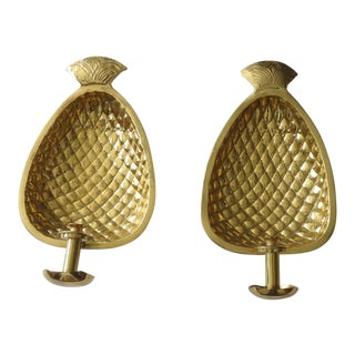 Oversized Brass Pineapple Candle Wall Sconces - a Pair