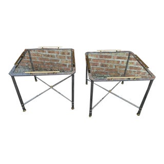 Vintage Hollywood Regency Octagon Glass Brass Chrome End Tables - a Pair For Sale