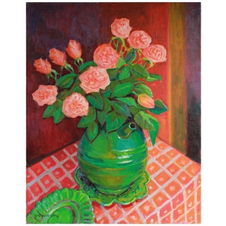 Bright Still Life With Red and Pink Flowers, Oil Painting, Late 20th Century For Sale