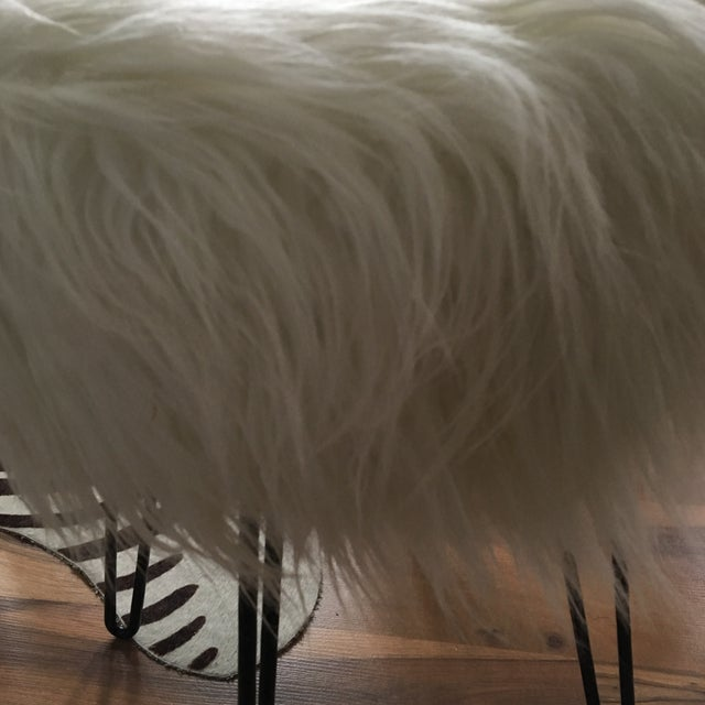 Vintage White Fluffy Stool For Sale - Image 7 of 8