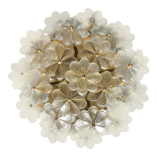 1960s Hollywood Regency Ernst Palme Floral Glass Sconce For Sale