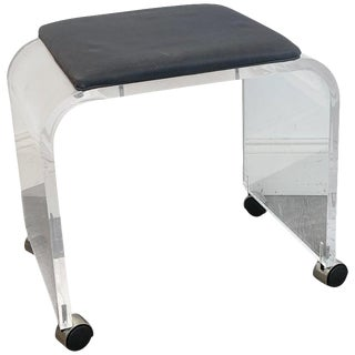 1970s Lucite Bench or Stool on Castors For Sale
