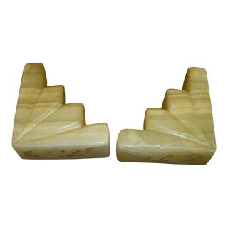 Natural Onyx Deco Style Bookends - a Pair For Sale