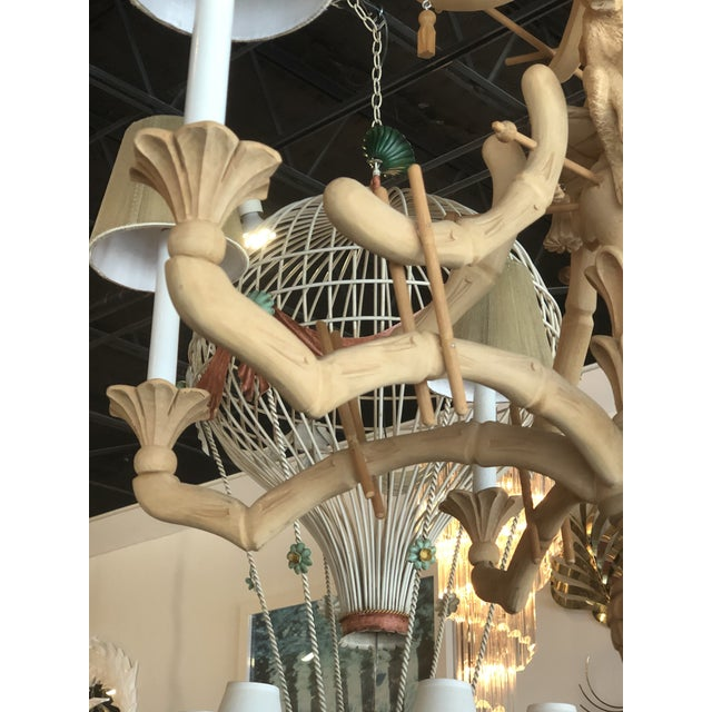 Vintage Chinoiserie Tropical Palm Beach Carved Wood Pagoda Monkey Tassels Bells Chandelier For Sale - Image 4 of 11