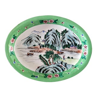1930s Canton Hand-Painted Enamel Oval Dish With Mountain Scene For Sale
