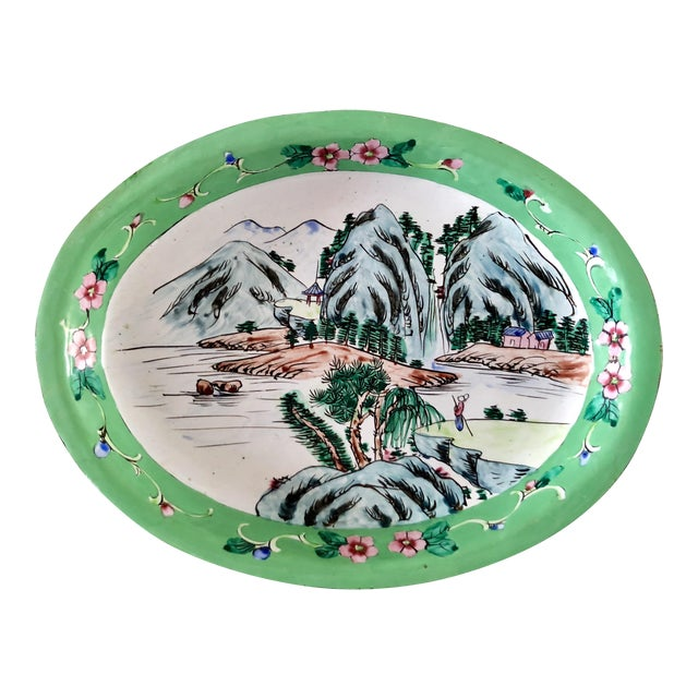 1930s Chinese Canton Hand-Painted Enamel Oval Dish With Mountain Scene For Sale