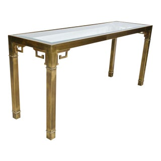 Mastercraft Chinoiserie Brass & Glass Long Console Table For Sale