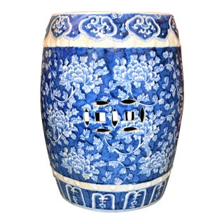 Chinoiserie Blue and White Porcelain Garden Stool With Mums For Sale