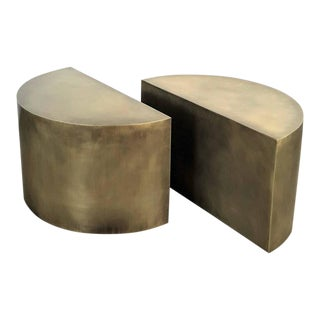 Handmade Solid Brass Geometric Demilune Side Tables - A Pair