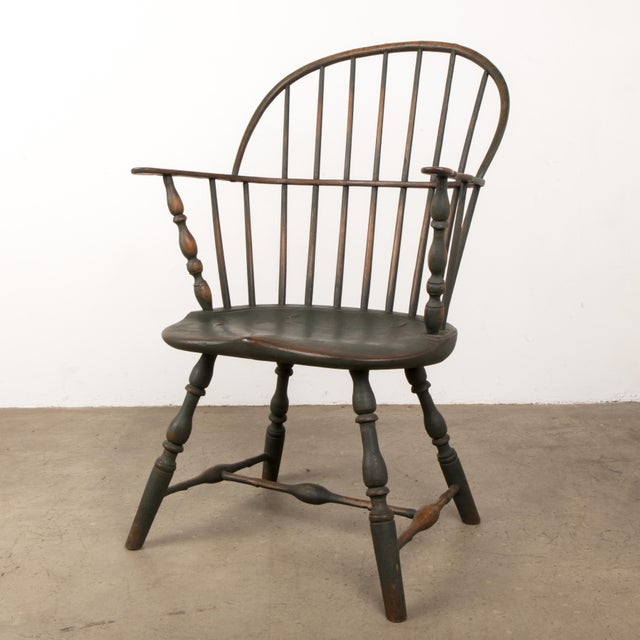 18th C. Peg Krupp Private Collection Windsor Chair #2 With Extended Arms For Sale - Image 12 of 12