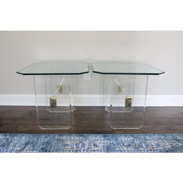 Vintage Lucite Brass and Glass End Tables - Pair - Image 2 of 11