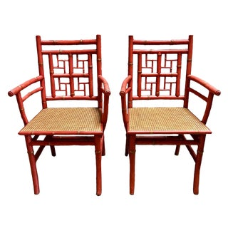 Vintage Chinese Chippendale Style, Faux Bamboo, Coral Lacqered Armchairs- a Pair For Sale