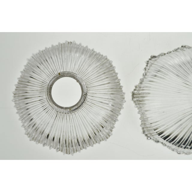 Transparent Art Nouveau 1905 Franklin Ribbed Glass Light Shades - a Pair For Sale - Image 8 of 12