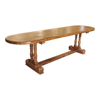 Antique French Single Plank Oak Farm Table, 19th Century For Sale