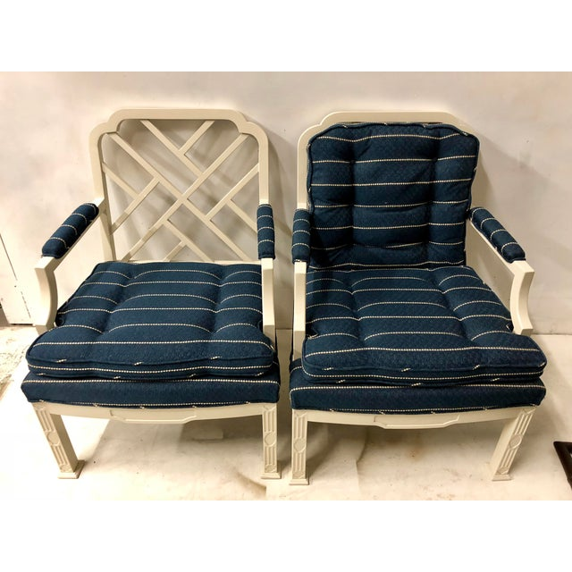Blue Pair of Erwin Lambeth Chinese Chippendale Chairs For Sale - Image 8 of 10