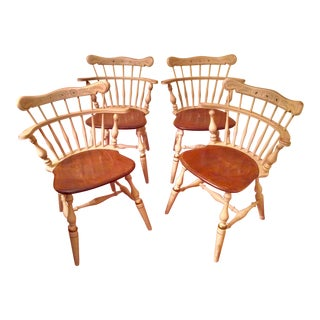 1950s Vintage Ethan Allen Comb Back Chairs- Set of 4 For Sale