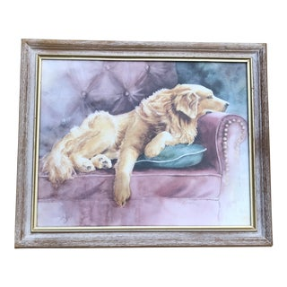Golden Retriever Watercolor Framed Portrait For Sale