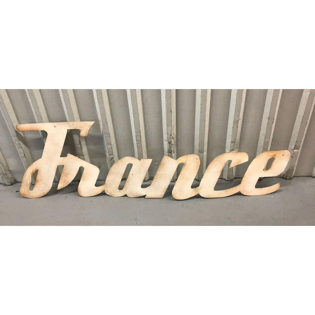"""Metal Mid-Century Modern """"France"""" Signage From Travel Agency For Sale - Image 7 of 9"""