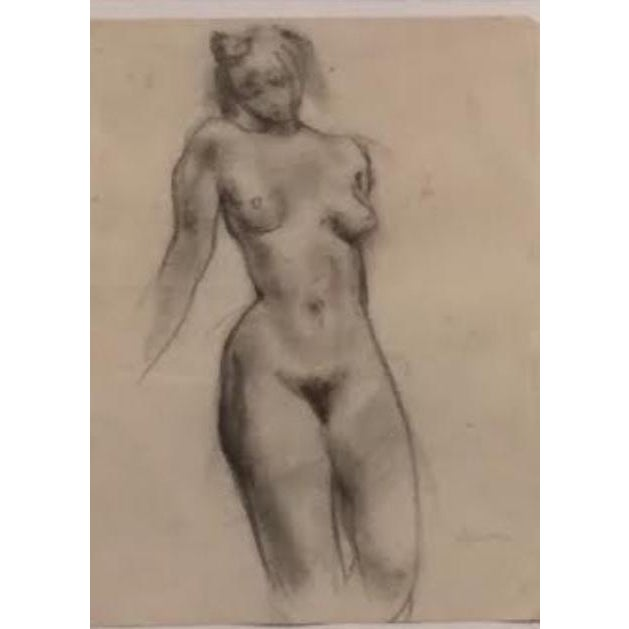 """Estelle Levin Siegelaub (b.1917) Female Nude Figure Study c.1930s Pencil and drawing on newsprint paper 8""""x10"""" gold bamboo..."""