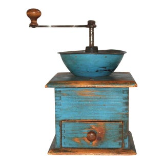 19thC Original Blue Painted Coffee Grinder For Sale