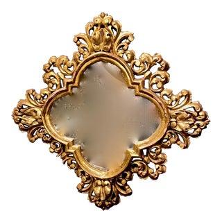 Quatrefoil Form Gold Leafed Mirror For Sale