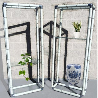 1970's Vintage Metal Faux Bamboo Etagere Chrome Corners - a Pair Preview