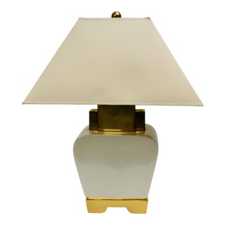 1980s Chapman Ceramic and Brass Hollywood Regency Chinoiserie Pagoda Table Lamp For Sale