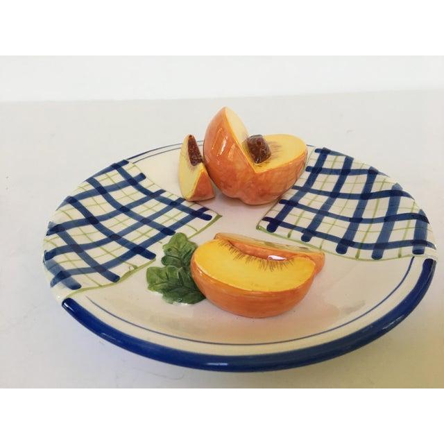 Trompe l'Oeil Decorative Blue Plaid Peach Plate For Sale - Image 6 of 10