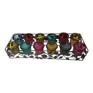 1970s Wrought Iron Votive Candle Holder for 12 Colorful Votives For Sale