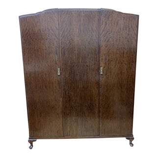 Early 20th Century Three Piece Tiger Flame Armoire For Sale