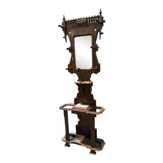 Antique Victorian Hall Tree Shaving Mirror