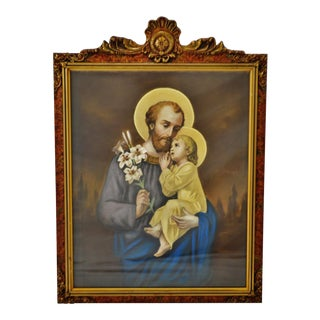 Antique Original Pastel Portrait Of St. Joseph and Baby Jesus in Carved Wood Frame For Sale