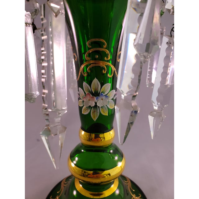 Islamic Vintage Green Glass Painted Luster Candle Holders With Prisms - a Pair For Sale - Image 3 of 11
