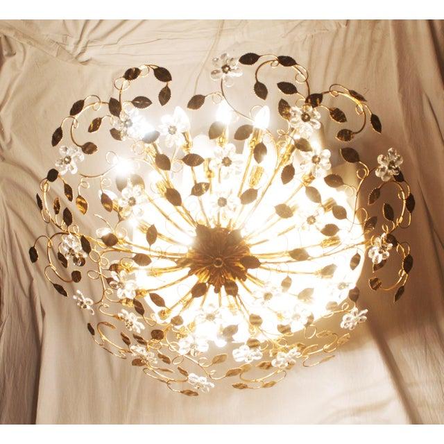 Huge Bras and Crystal Flush Mount Chandelier For Sale - Image 9 of 13