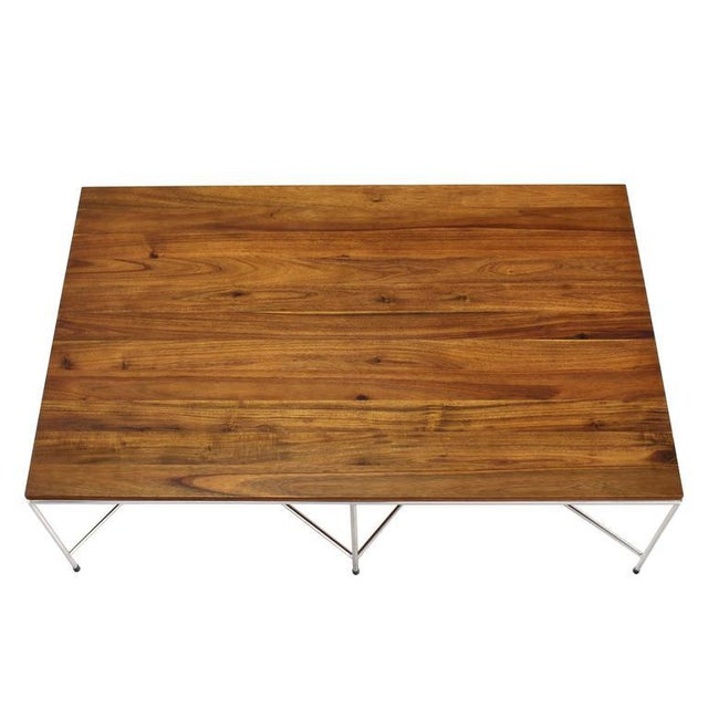 Established Lines Mid-Century Modern Z Base Stainless Base Wood Top Coffee Table For Sale - Image 4 of 10
